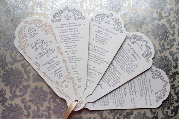 Victorian-Inspired Wedding Program Fans