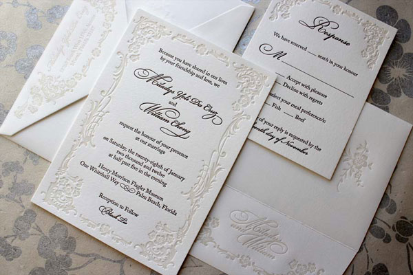 Ornate Letterpress Wedding Invitations