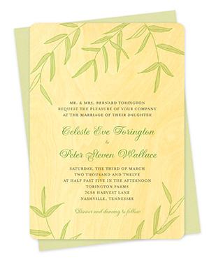 Wispy Bamboo Wood Wedding Invitations