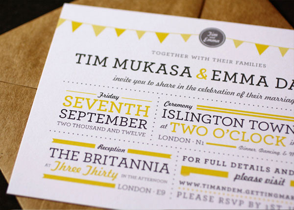 Bunting Wedding Invitations