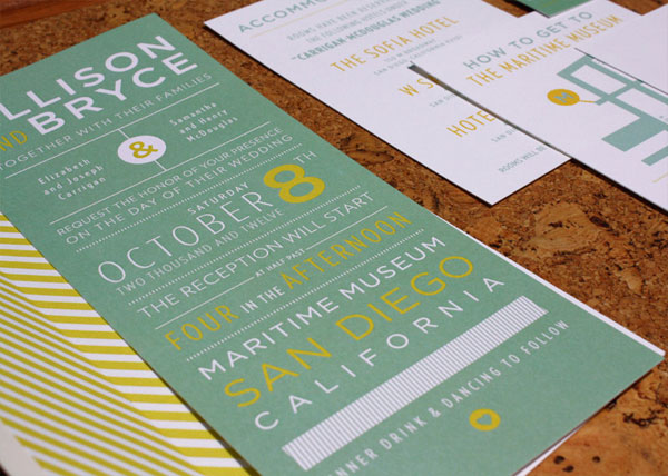 Tall Typographic Wedding Invites
