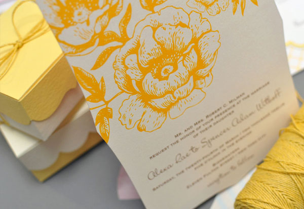 Floral Die Cut Wedding Invitations