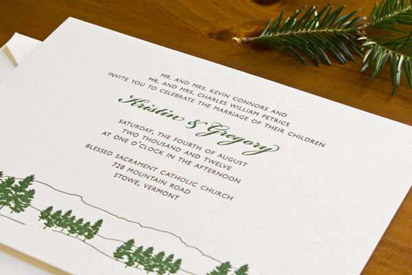 Evergreen Letterpress Wedding Invitations