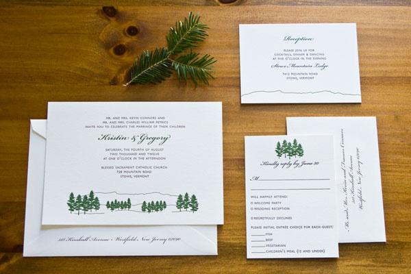 Kristin + Gregory's Evergreen Wedding Invitations - Invitation Crush
