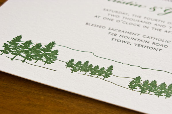 Evergreen Detail Wedding Invitations