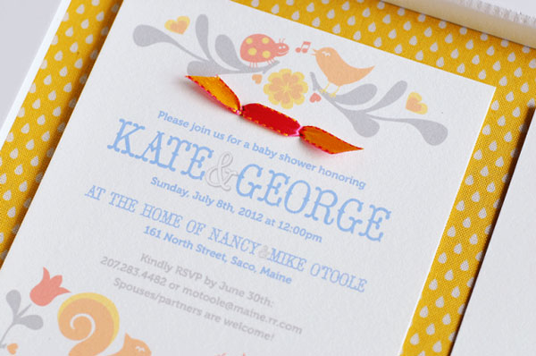 Folk Art Inspired Baby Shower Invitations