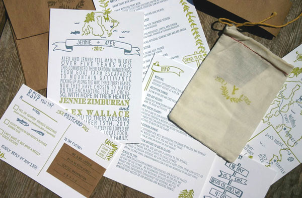 Summer Camp + Woodland-Inspired Wedding Invitations