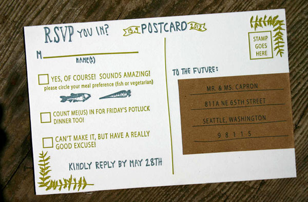 Letterpress Wedding RSVP Card