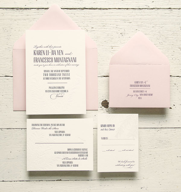 Aubergine Letterpress Wedding Invitations