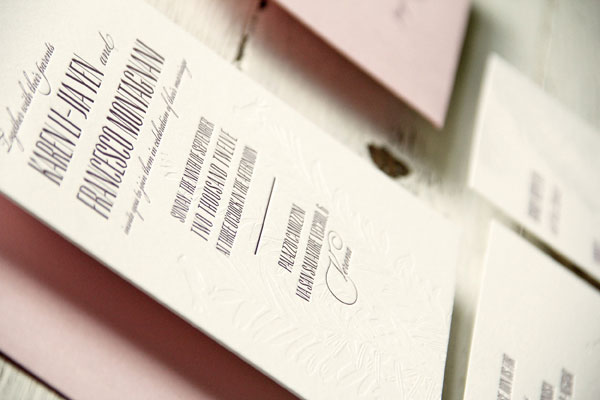 Blind Debossed Letterpress Wedding Invites