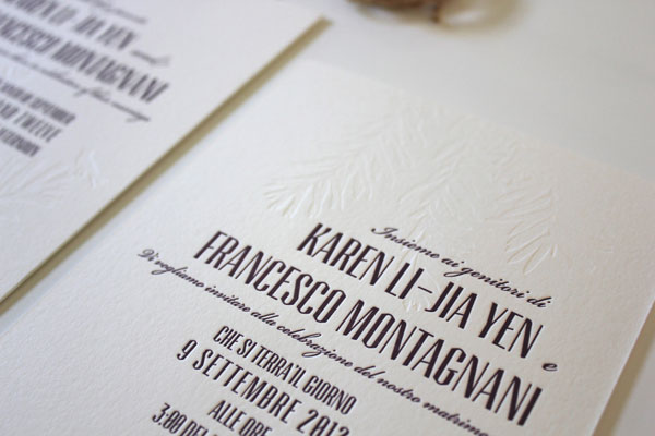karen  francesco's bilingual letterpress wedding invitations, Wedding invitations