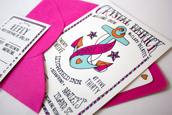 Colorful Nautical Wedding Invitations