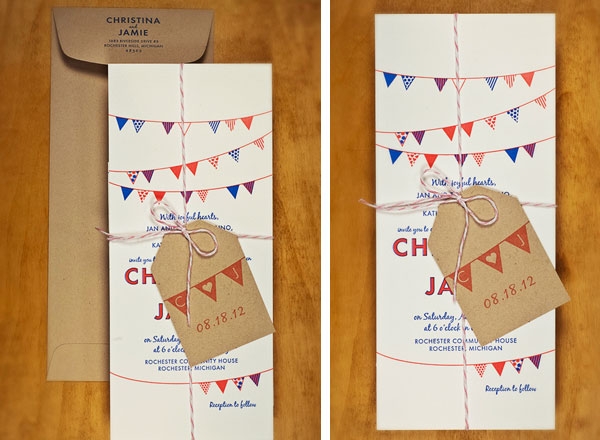 Letterpress Bunting Wedding Invitations