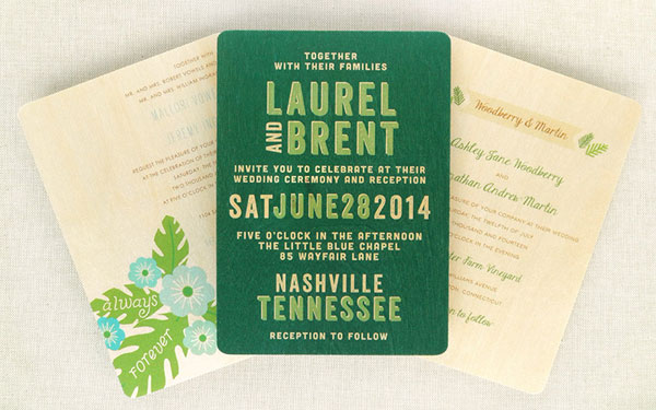 Wood Veneer Wedding Invitations