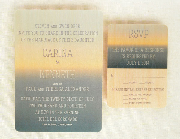 Horizon Wood Veneer Wedding Invitations