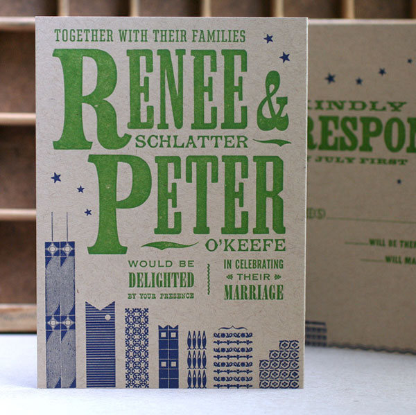 Renee + Peter's Chicago Skyline Letterpress Invitations