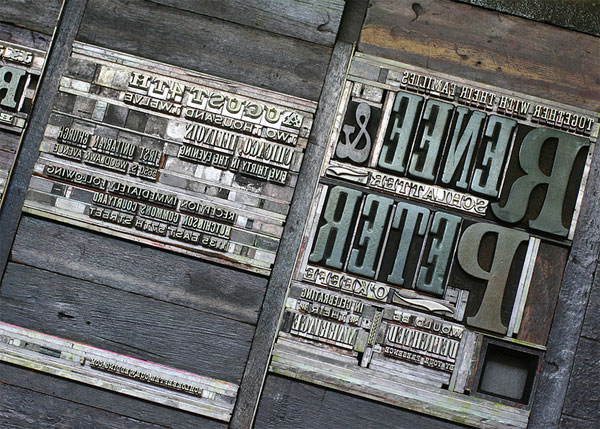 Antique Wood & Metal Type Letterpress Invitations