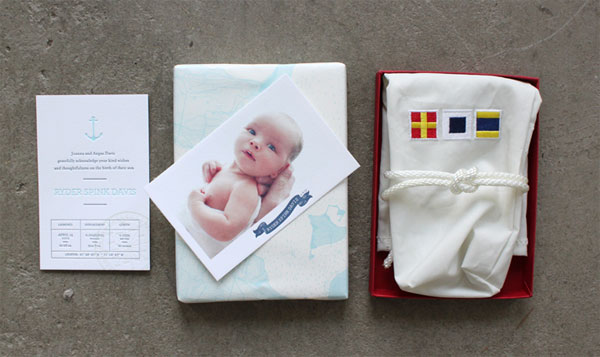 Ryder's Nautical Letterpress Birth Announcements
