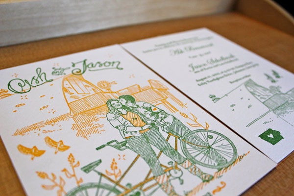 Illustrated Country Letterpress Wedding Invitations
