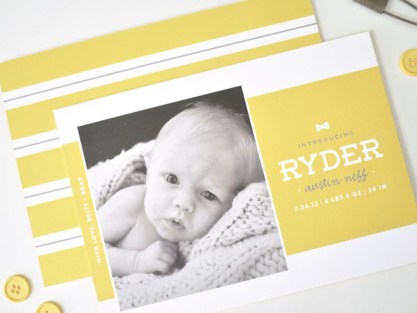 Bow Tie Birth Announcements by Palm Papers