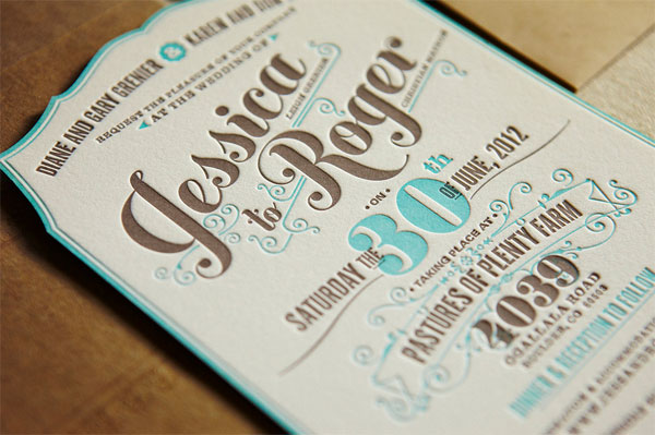 Flourish Letterpress Wedding Invites