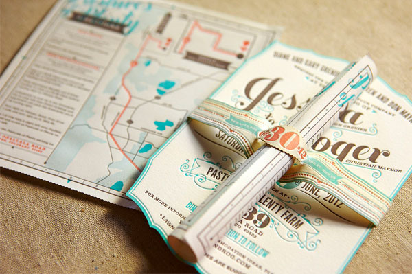 Flourish Letterpress Wedding Invitations