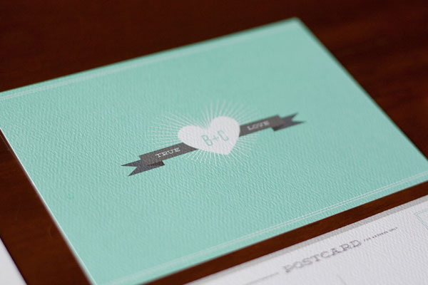 Minty Teal + Gray Wedding Invitations