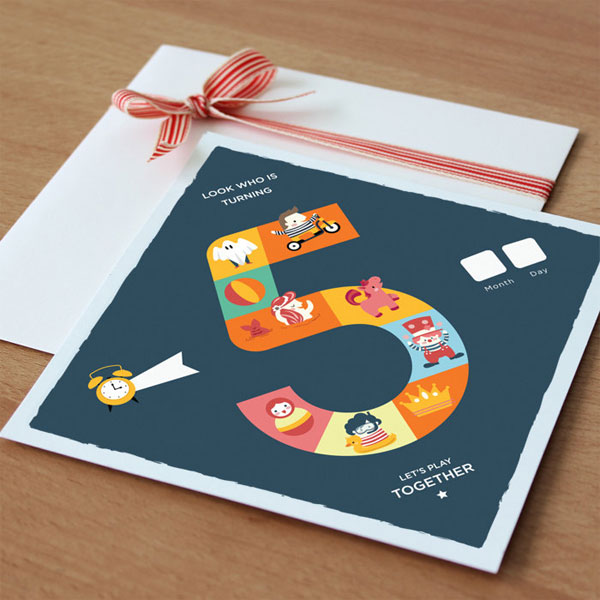 5th Birthday Party Board Game Invitations