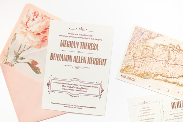 Coral Pheasant Custom Wedding Invitations
