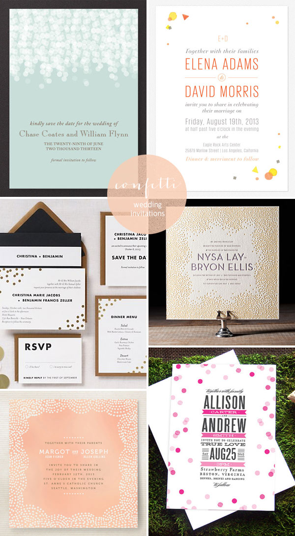 Confetti Wedding Invitations - Invitation Crush