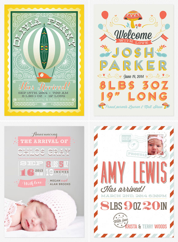 Mid-Century Modern Birth Announcements