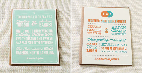 Poster Style and Venn Diagram Wedding Invitations