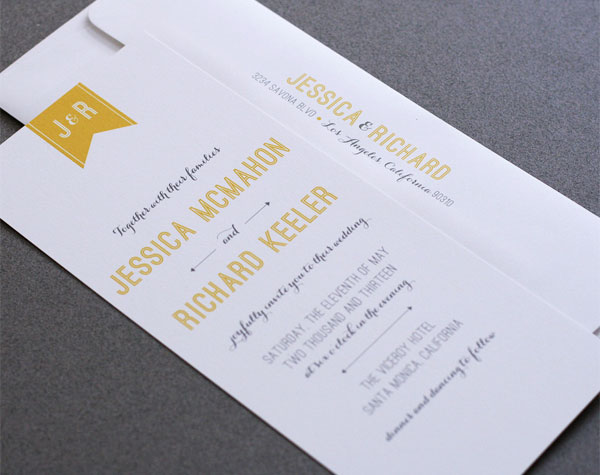 Elegant Mid Century Inspired Wedding Invites
