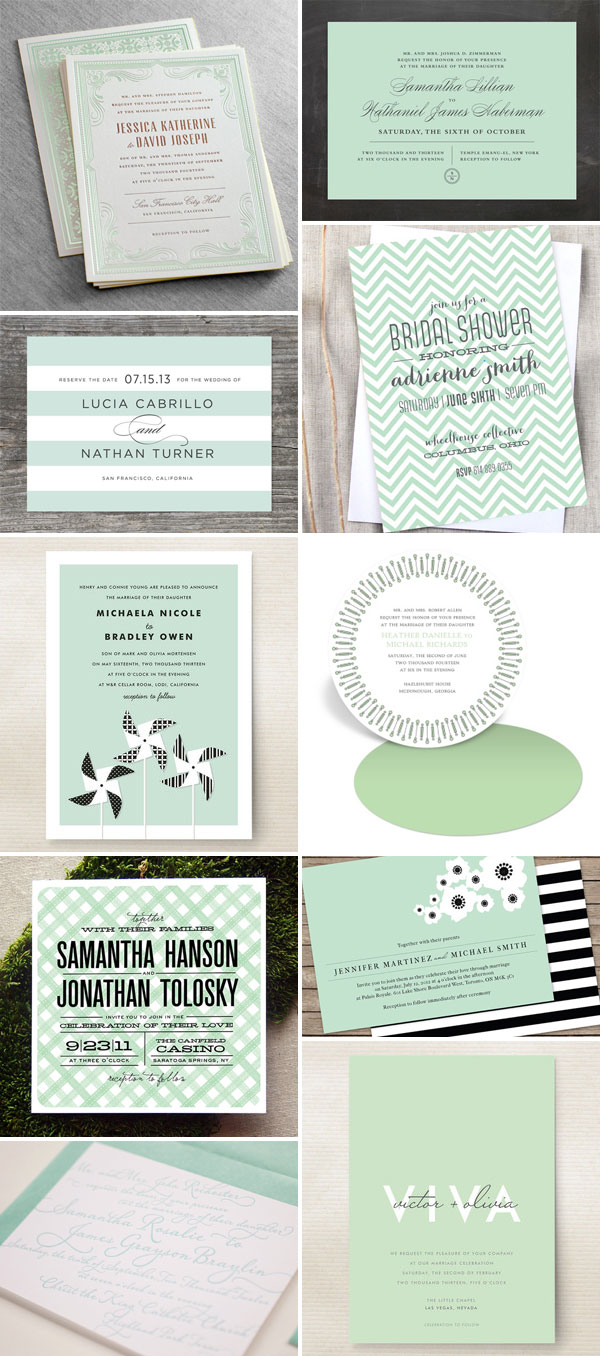 wedding invitation color trend : mint green - invitation crush, Wedding invitations