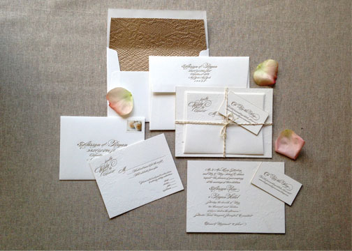 Elegant Gold Lace Letterpress Wedding Invitations