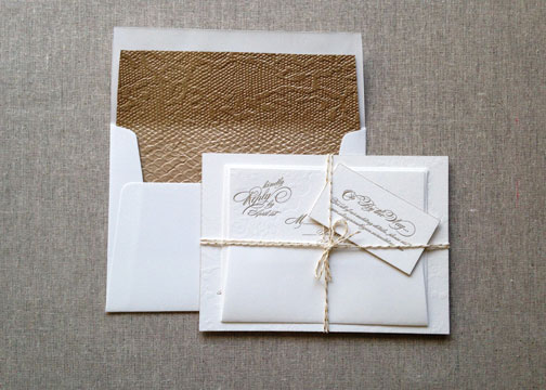 Elegant Gold & Lace Wedding Invites