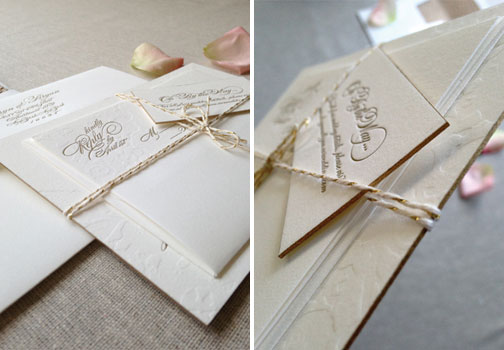 Gold Foil Edging Wedding Invitations