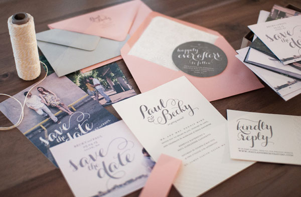 Paul & Becky's Modern Coral + Gray Wedding Invitations