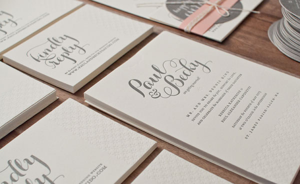 Modern Blind Debossed Wedding Invitations