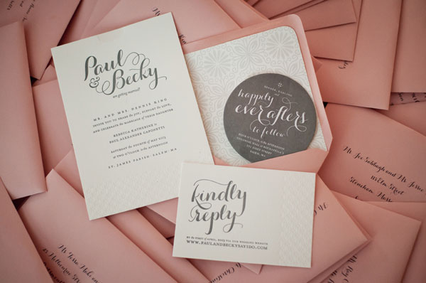 Warm Coral + Gray Letterpress Wedding Invitations