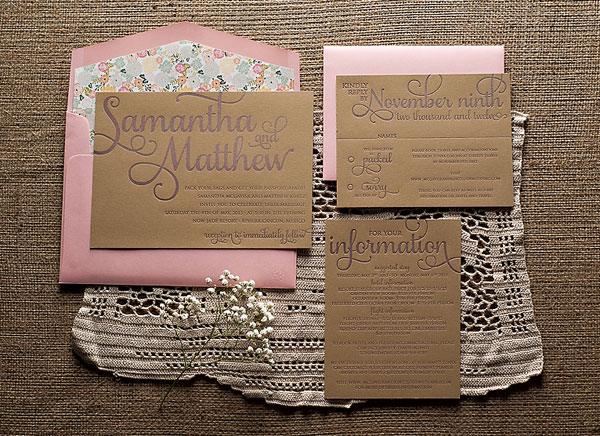 Romantic Rustic Letterpress Invites
