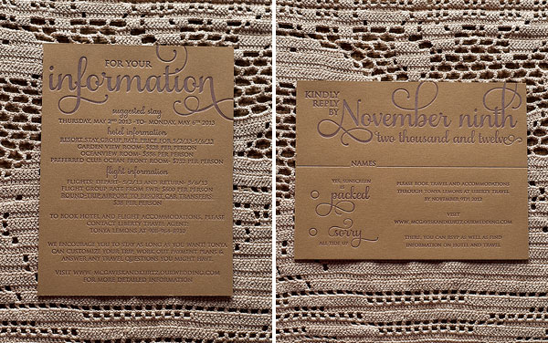 Information & RSVP Kraft Letterpress Cards