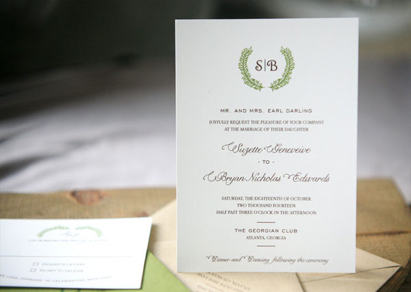 Laurel Wedding Invitation | Foglio Press