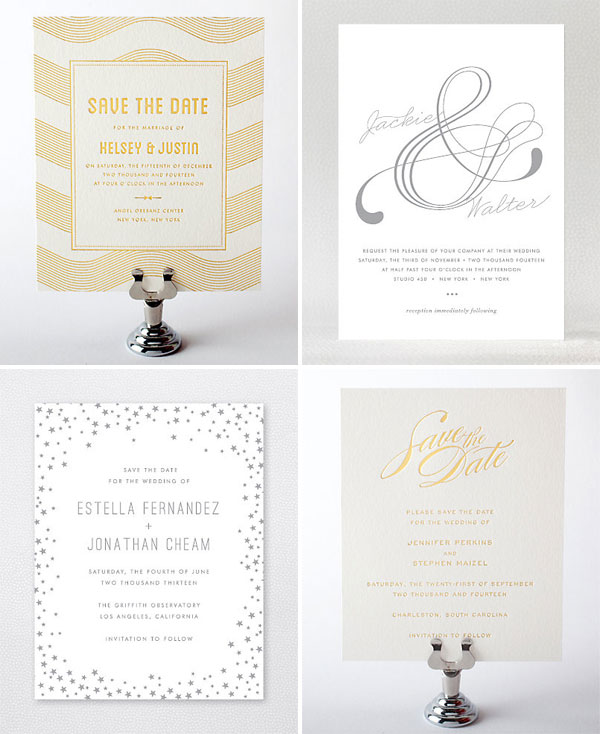 Foil Stamped Wedding Invitations: Gorgeous Gold + Silver Foil Stamped Wedding Invites