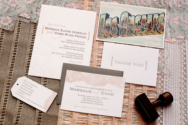 Modern Lace Letterpress Wedding Invitations