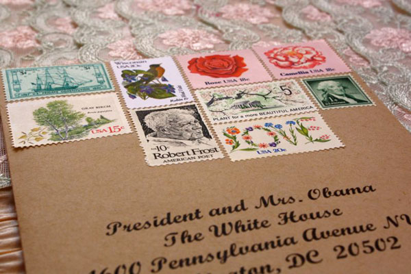 Vintage Postage Stamp Wedding Invitation Envelope