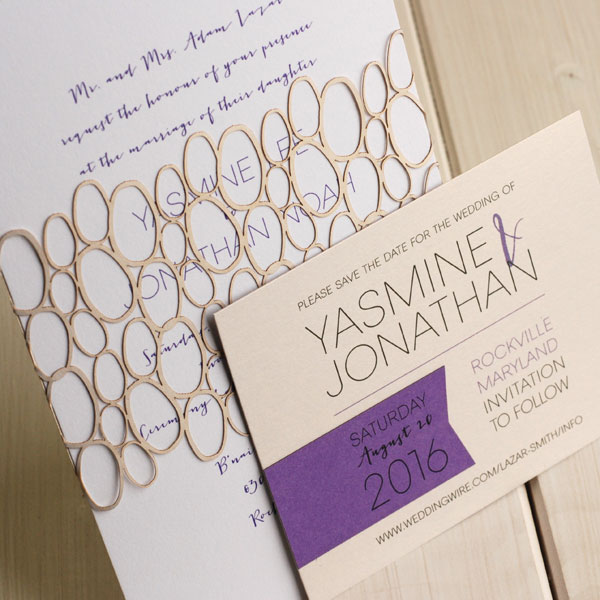 Laser Cut Pebble Wedding Invitations | Luscious Verde