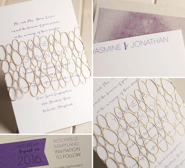 Modern Laser Cut Wedding Invitations   Luscious Verde