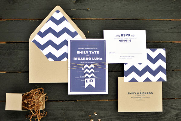 Navy & Ivory Chevron Wedding Invitation Suite
