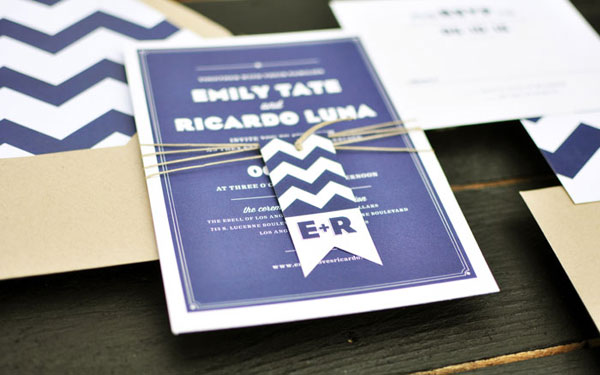 Modern Chevron Wedding Invitations